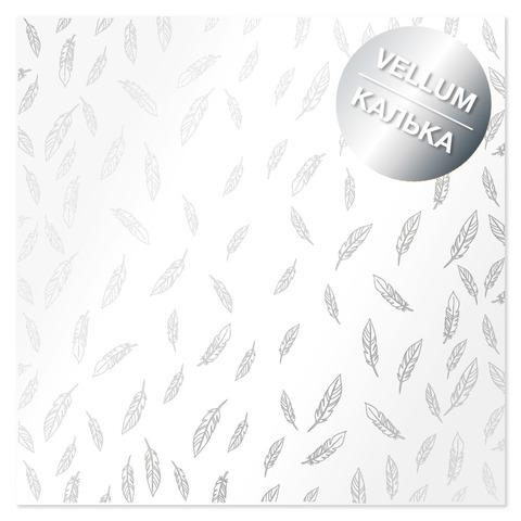 Лист кальки (веллум) с фольгированием Silver Feather 30,5х30,5 см