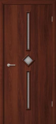 Дверь Фрегат ПО-09 Диадема, рифлёное, цвет итальянский орех, остекленная