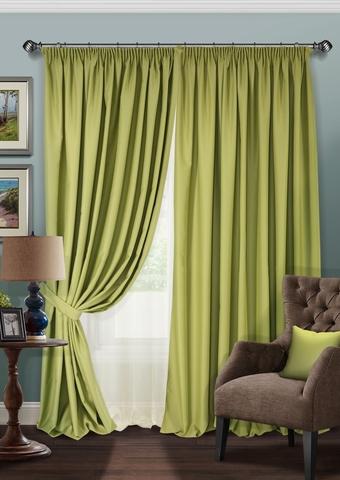 Комплект штор и тюль полуорганза Blackout зеленый
