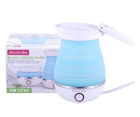 Чайник электрический силиконовый 0,8л., голубой с белым