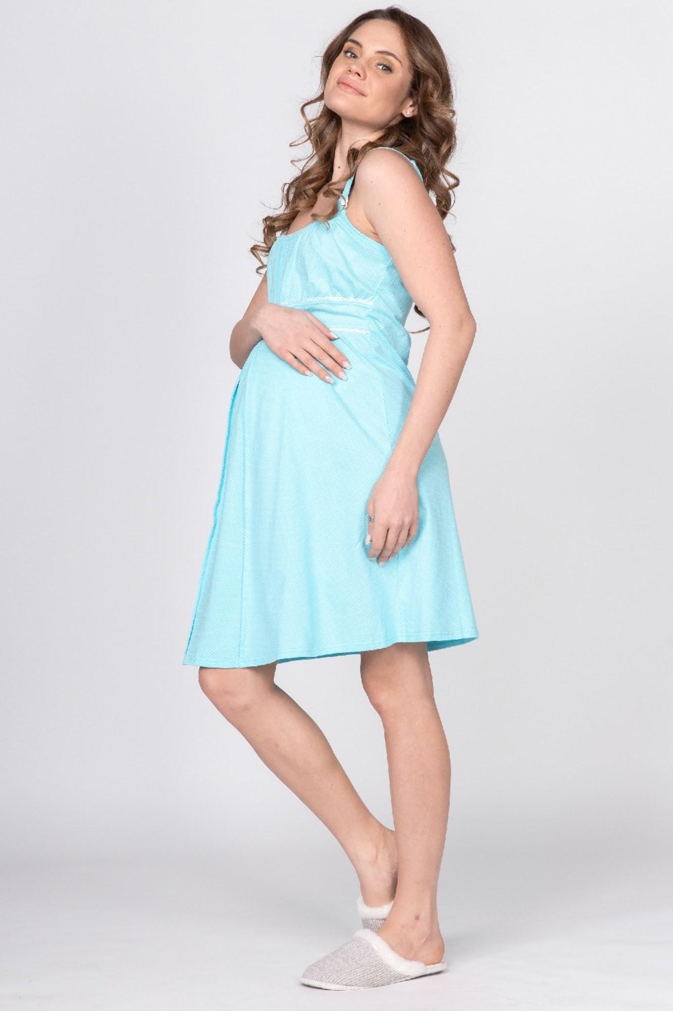 Ночная сорочка для беременных и кормящих 09616 бирюзовый
