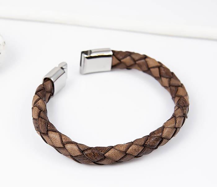 BM514-2 Браслет из плетеного шнура коричневого цвета (21 см) фото 03