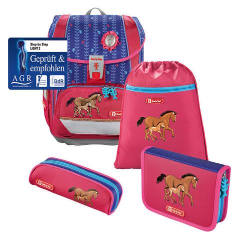 Ранец Step By Step Light2 Lucky Horses розовый/синий 4 предмета