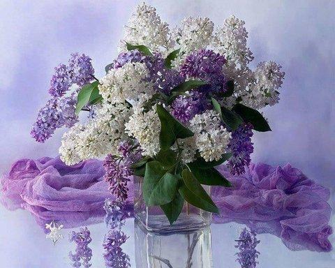 Алмазная Мозаика + Багет 30x40 Сирень в прозрачной квадратной вазе