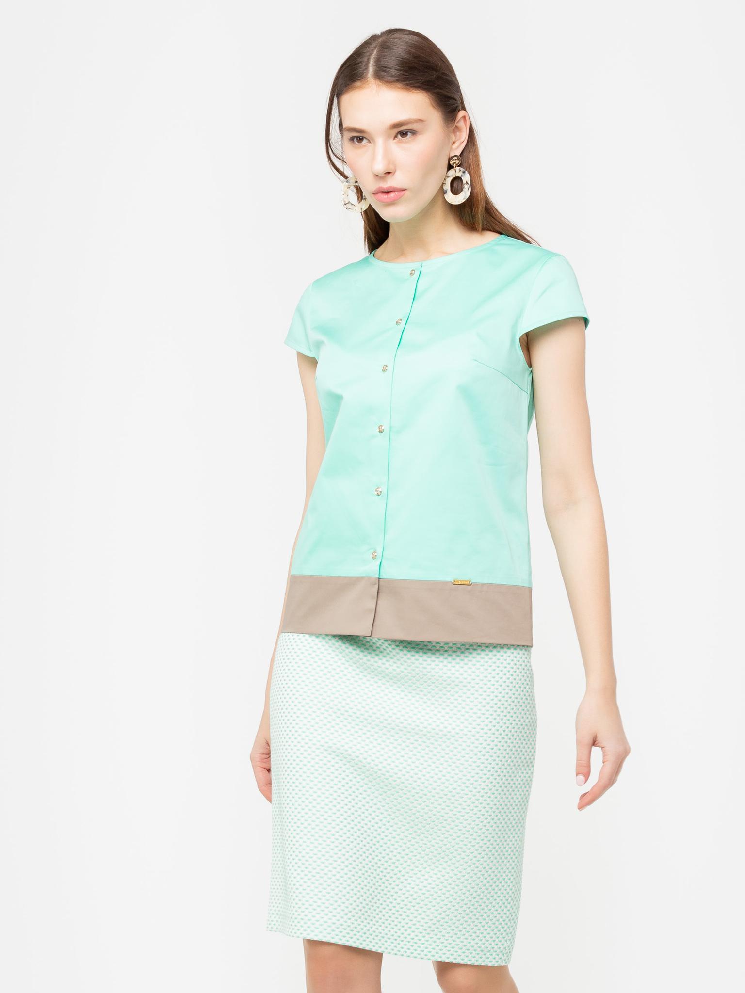 Блуза Г620-516 - Хлопковая блуза прямого силуэта с небольшим рукавчиком. Прекрасный летний вариант для офиса, хорошо сочетается с юбками и брюками.