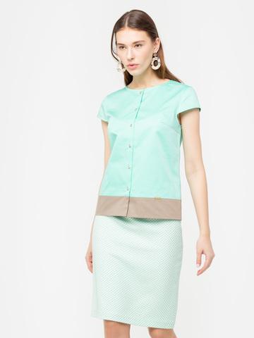 Фото бирюзовая блузка с короткими рукавами и коричневой вставкой снизу - Блуза Г620-516 (1)
