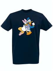 Футболка с принтом мультфильма Дональд Дак и Дейзи Дак (Donald  Duck/ Daisy Duck) темно-синяя 001