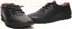 Чёрные кеды женские кожаные мокасины на шнурках casual стиль EVA collection 151 Black.