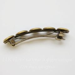 Основа для заколки - автомат с 5 сеттингами для кабошонов 12 мм, 70х14 мм (цвет - античная бронза)