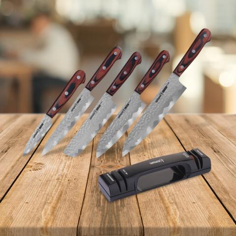 Набор из 5 ножей Samura KAIJU и точилки KSS-2000