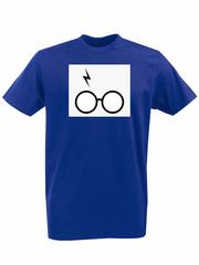 Футболка с принтом Гарри Поттер (Harry Potter/ Гриффиндор, Слизерин, Когтевран, Пуффендуй) синяя 0041