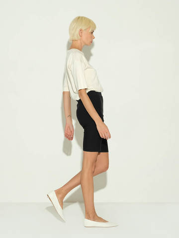 Женские шорты черного цвета из 100% шелка - фото 4