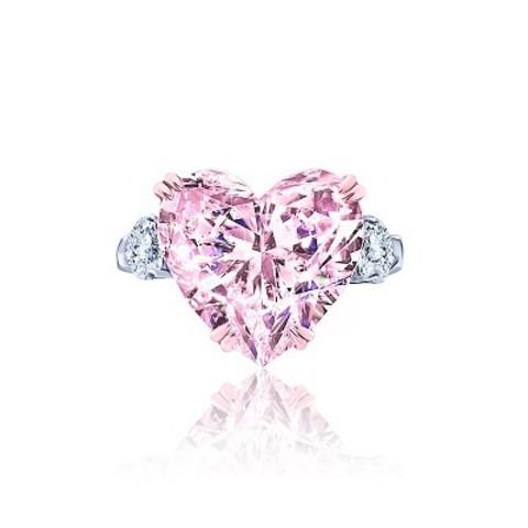 4884 - Кольцо из серебра с розовыми цирконом в форме сердца