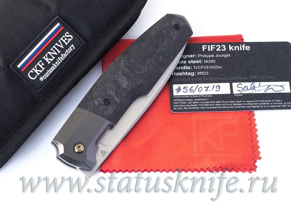 CKF/Philippe Jourget collab FIF23 knife (Sale card, M390, Ti, Zirc, Marble CF)