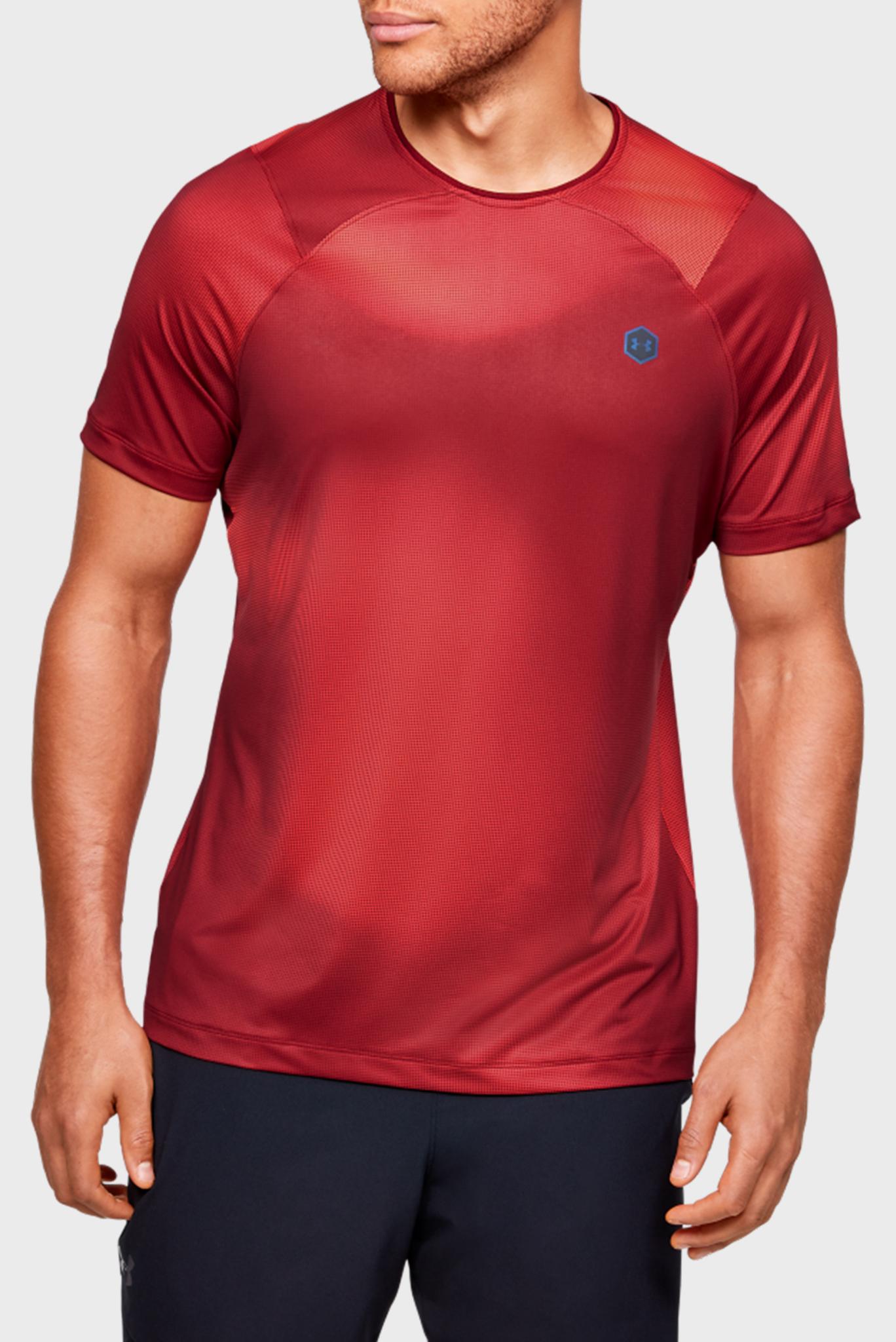 Мужская красная спортивная футболка UA HG Rush Fitted SS Printed Under Armour