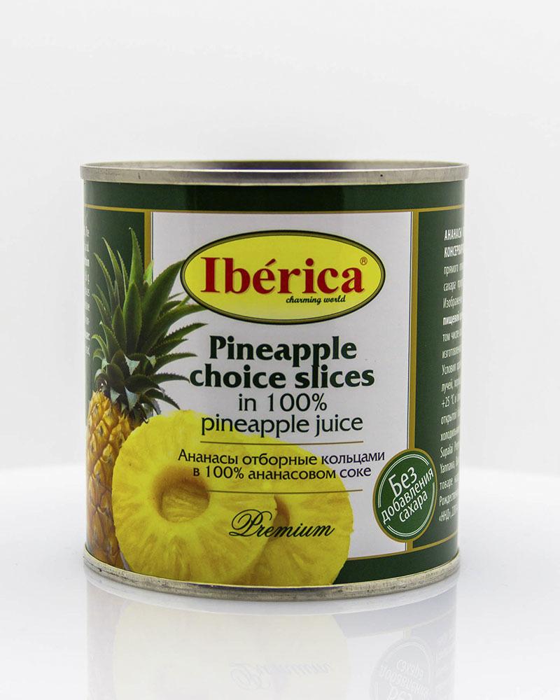 Ананасы Iberica отборные кольцами в ананасовом соке 435 мл.