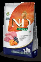 Корм для собак средних и крупных пород, Farmina N&D Pumpkin Lamb & Blueberry Adult Medium/Maxi, с ягненком и черникой