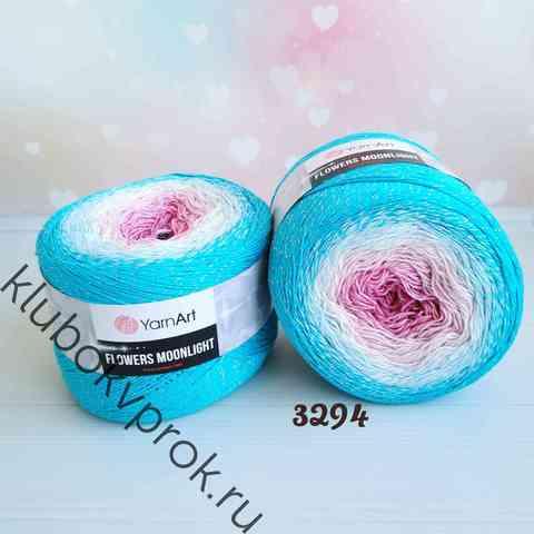 YARNART FLOWERS MOONLIGHT 3294, Розовый/белый/голубой
