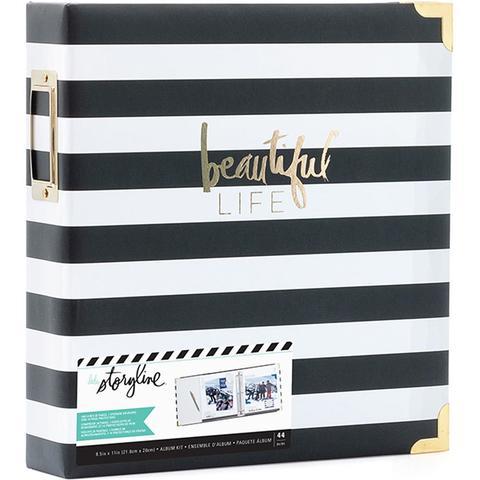 Папка на кольцах для Project Life ( для файлов 22х28 см) Heidi Swapp Storyline2 D-Ring Album  -Black Stripe