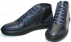 Темно синие ботинки натуральная кожа осень зима мужские Luciano Bellini BC2802 L Blue.
