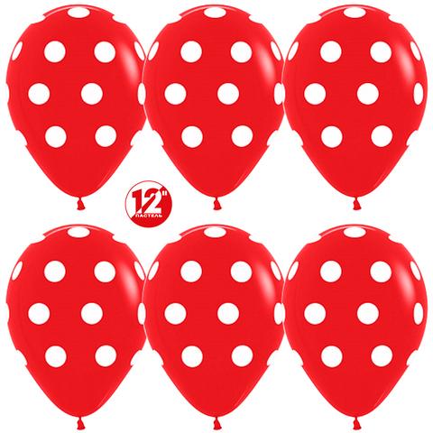 Красные шары, белые точки, 30 см