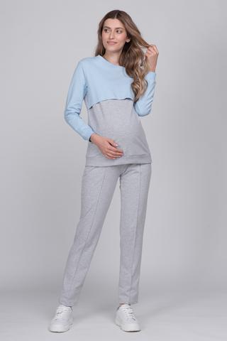 Спортивный костюм для беременных и кормящих 12621 серый меланж