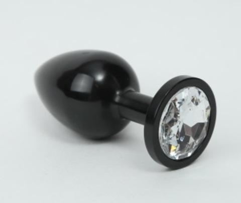 Анальная пробка металл черная с прозрачным стразом 8,2х3,5см 47411-4MM