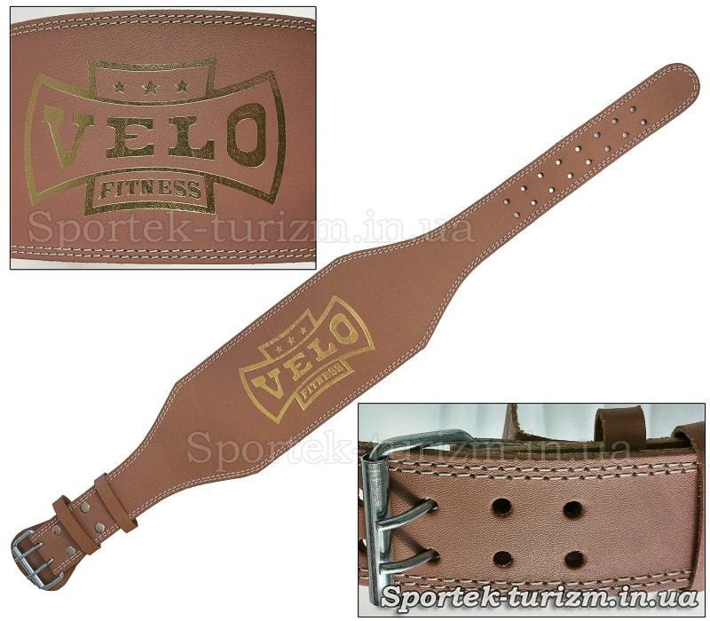 Шкіряний пояс штангіста VELO з підкладкою для спини, широка частина 15 см