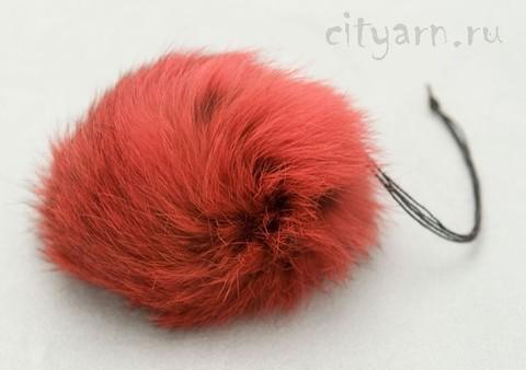 Помпон из меха кролика, ярко-красный, диаметр 8 см