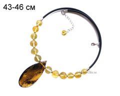 чокер с натуральным янтарём, лимонный янтарь мятый шар