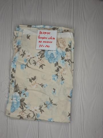 Ранфорс голубые цветы на молочном (лоскут)