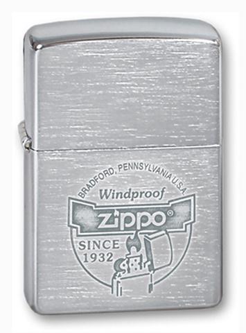 Зажигалка Zippo Since 1932 с покрытием Brushed Chrome, латунь/сталь, серебристая, матовая, 36x12x56