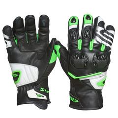 Мотоперчатки кожа Sweep Forza, чёрный/зелёный