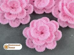 Цветочек пышный вязаный розовый (ручная работа)