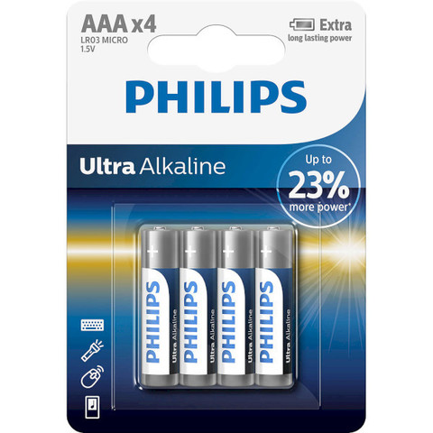 Батарейки Philips Ultra Alkaline LR03, AAA (4/48) BL