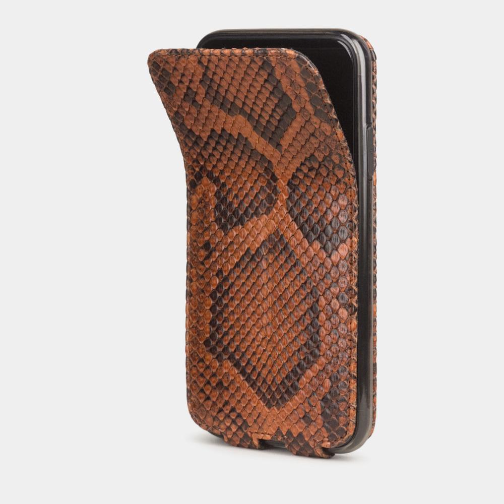 Чехол для iPhone 11 из натуральной кожи питона, цвета Коньяк