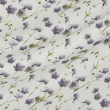 Плотный белый лён с фиолетовыми цветами