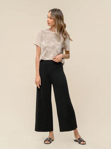 Женские брюки-клеш черного цвета из шелка и вискозы - фото 2