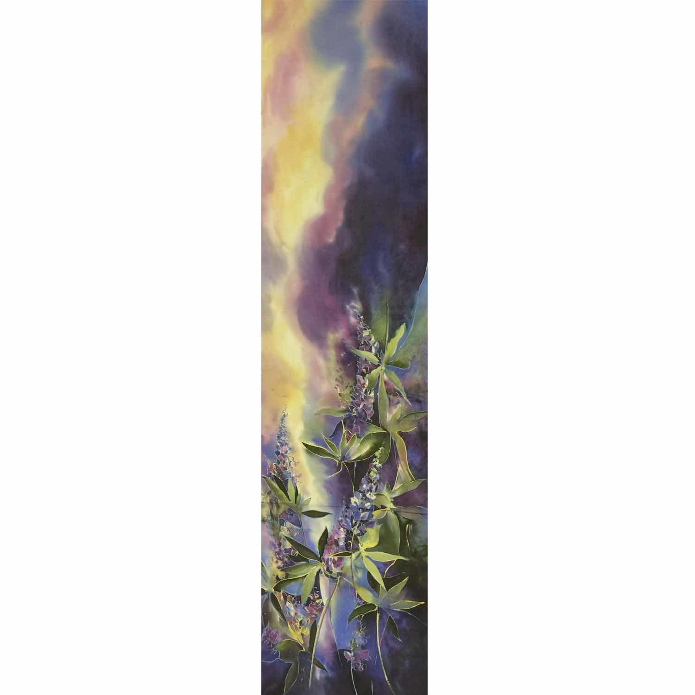 Шелковый шарф батик Люпины
