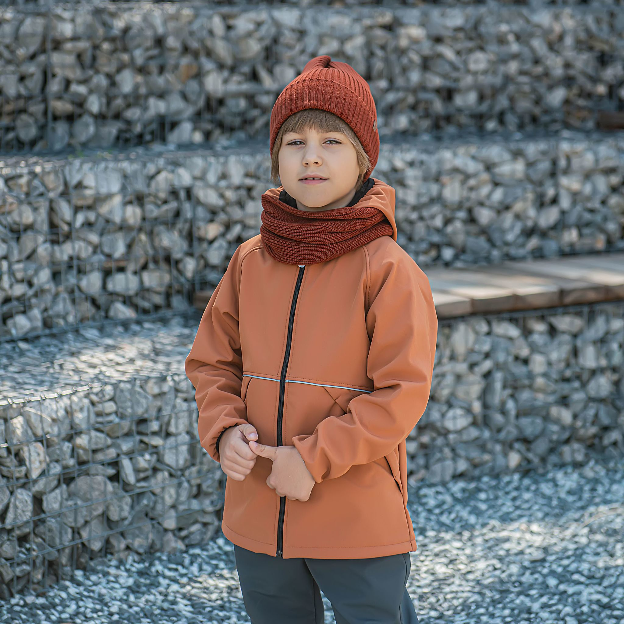 Softshell demi-season jacket for teens - Cinnamon