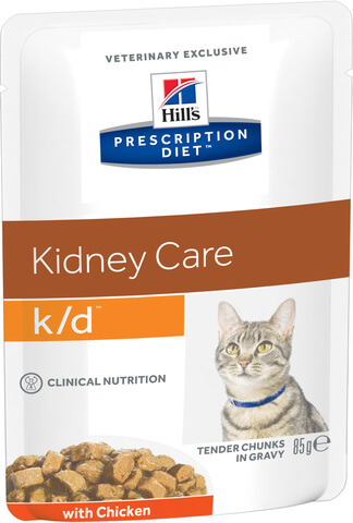 купить хиллс Hill's™ Prescription Diet™ Feline k/d™ Kidney Care with Chicken пауч (влажный корм) для взрослых кошек, диетический рацион при заболеваниях почек, МКБ (оксалаты, ураты)