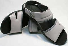 Удобные сандали кожаные мужские Ikoc 3294-3 Gray.