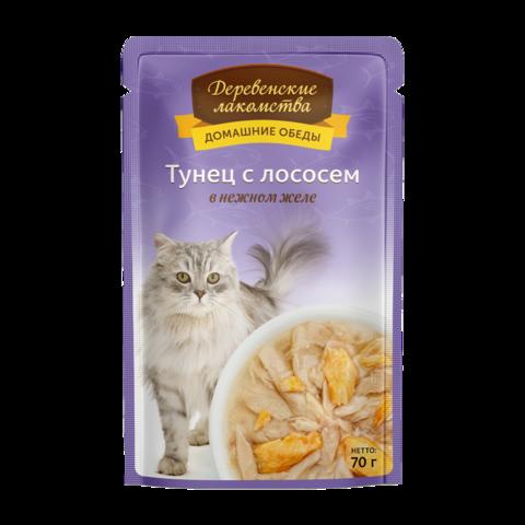 Деревенские лакомства Консервы для кошек с тунцом и лососем в нежном желе (пауч)