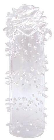 Закрытая прозрачная насадка в форме розы с креплением-колечком - 13 см.