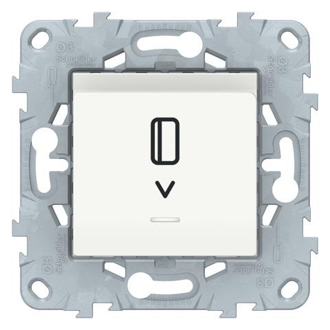 Выключатель карточный с подсветкой. Цвет Белый. Schneider Electric Unica New. NU528318