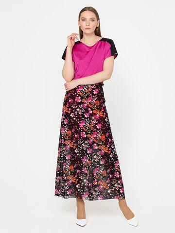 Фото нарядная юбка в пол с цветочным принтом и разрезом - Юбка Б789-378 (1)