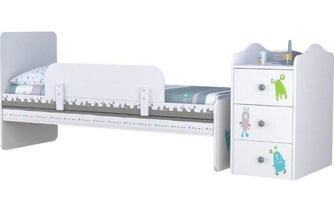 Кроватка детская Polini kids Basic Монстрики с комодом, белый-серый