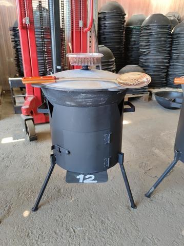 Комплект 12 литров, печь с дверцей + узбекский казан + шумовка