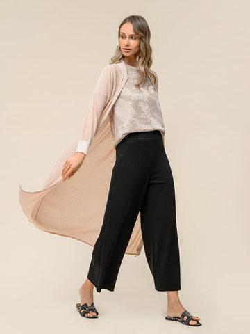 Женские брюки-клеш черного цвета из шелка и вискозы - фото 4