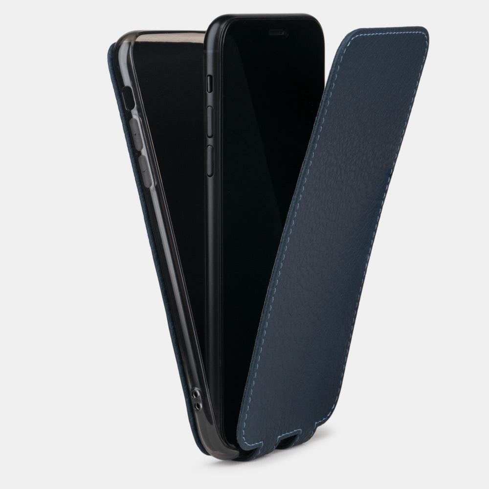 Чехол для iPhone X/XS из натуральной кожи теленка, цвета синий мат